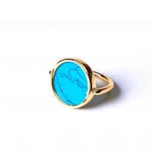 Bague jeton turquoise