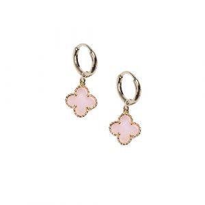 Mini créoles mini trèfle quartz rose