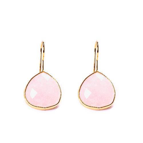 Boucles d'oreilles goutte quartz rose