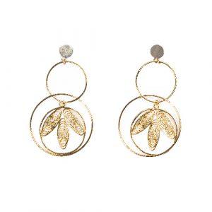Boucles d'oreilles jasmine doré