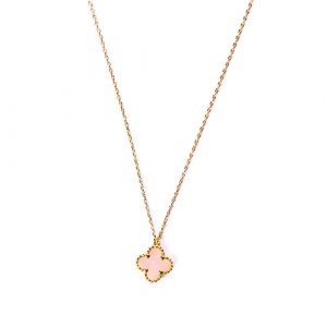 Collier trèfle quartz rose
