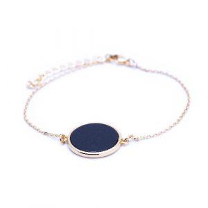 Bracelet jeton agate noire