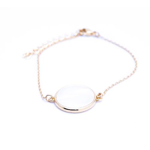 Bracelet jeton nacre or