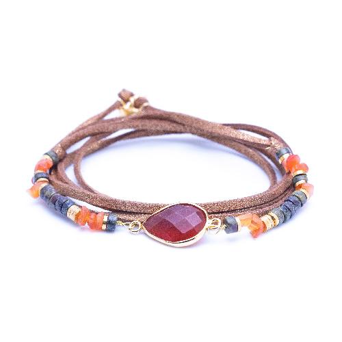 Bracelet multitours, cordon suédine, evora, cornaline