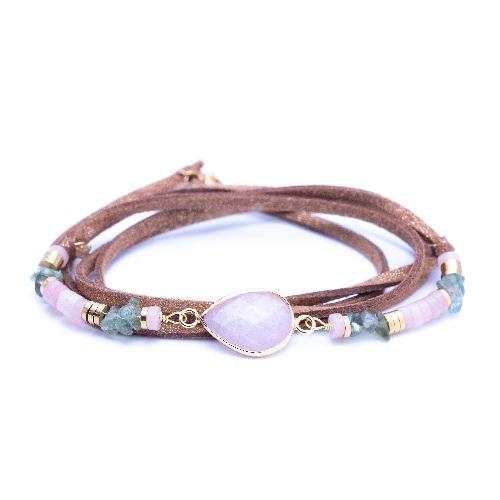 Bracelet multitours, cordon suédine, evora, quartz rose