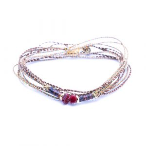 Bracelet multi tours orna rouge
