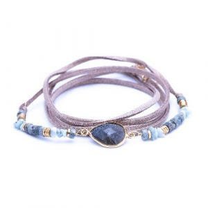 Bracelet multitours, cordon suédine, evora, labradorite