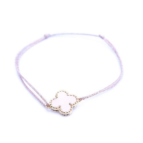 Bracelet cordon mini trèfle quartz rose