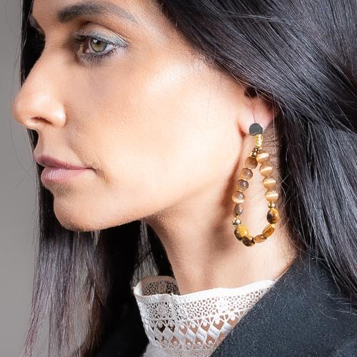 Boucles d'oreilles nixie marron