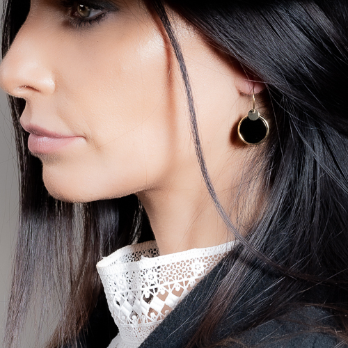 Boucles d'oreilles jeton noir