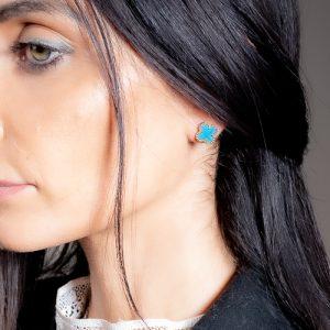 Puces d'oreilles mini trèfle turquoise