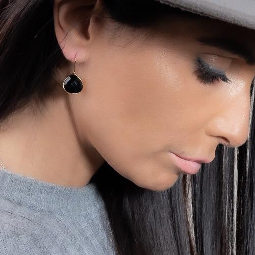 Boucles d'oreilles goutte agate noire