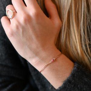 Bracelet cordon eyes rouge