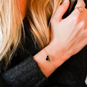 Bracelet trèfle agate noire