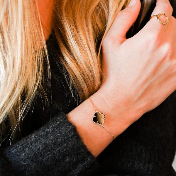 Bracelet trèfle agate noir