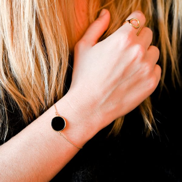 Bracelet jeton noir or