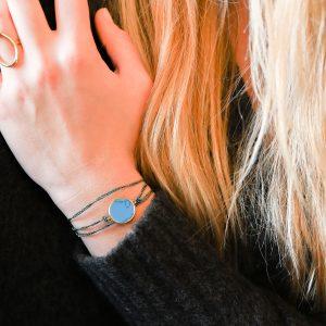 Bracelet multi tours jeton turquoise