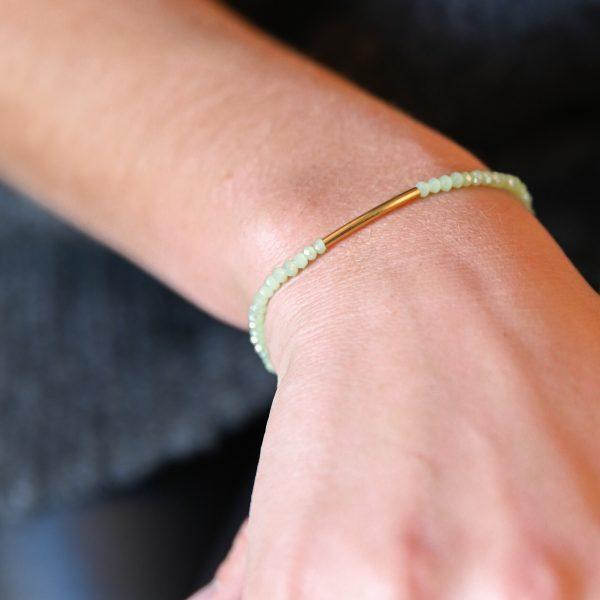 Bracelet arc vert d'eau or