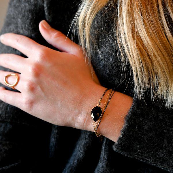 Bracelet multi tours tokyo agate noire