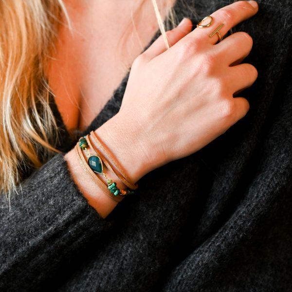 Bracelet multitours, cordon suédine, evora, quartz vert