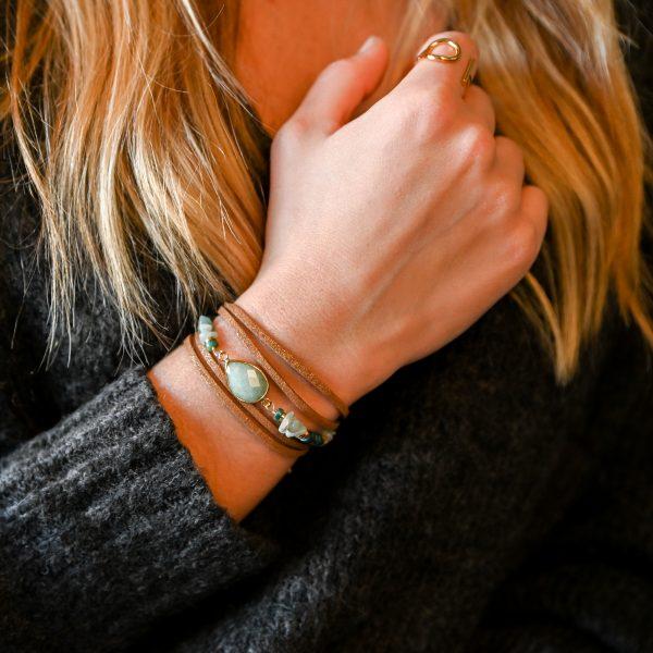 Bracelet multitours, cordon suédine, evora, amazonite