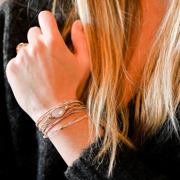 Bracelet multi tours avalon quartz rose