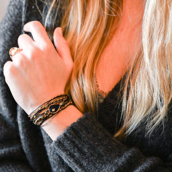 Bracelet multi tours avalon agate noire