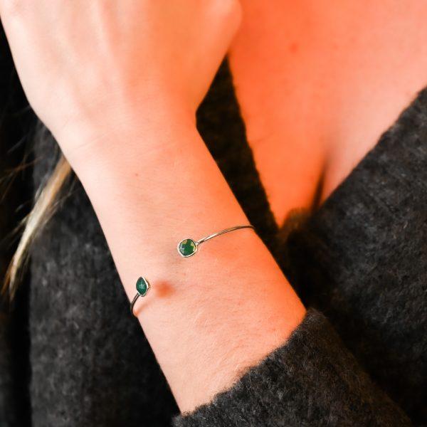Bracelet argent vert