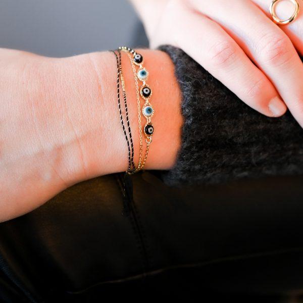 Bracelet multi tours eyes noir