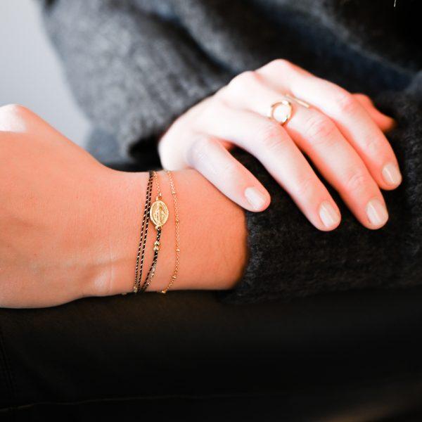 Bracelet madone noir doré