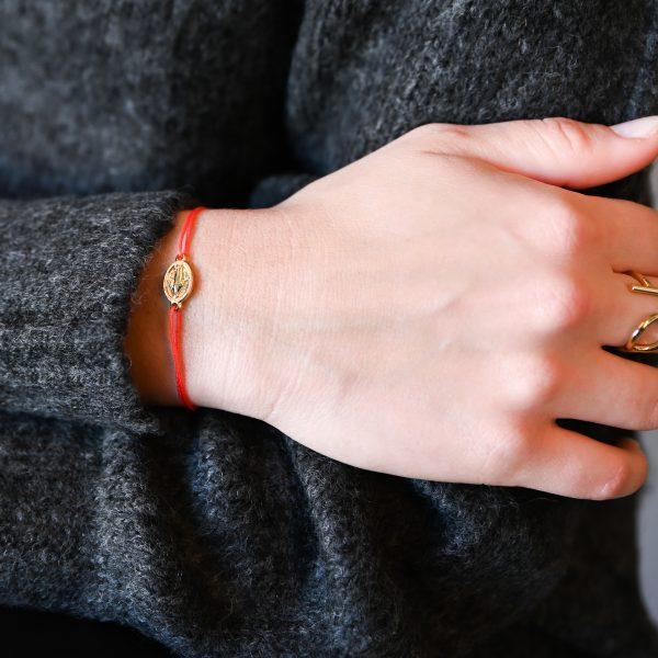 Bracelet madone rouge or