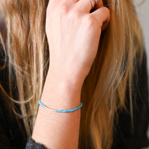 Bracelet arc turquoise doré