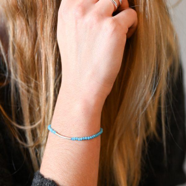 Bracelet arc turquoise argent