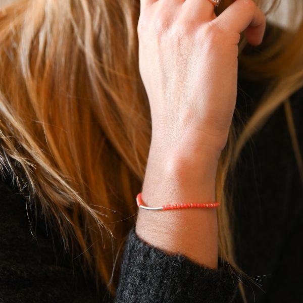 Bracelet arc corail argent