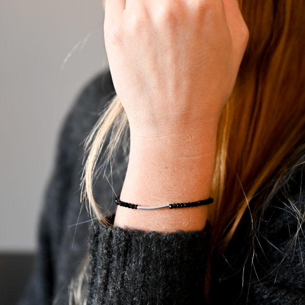 Bracelet arc noir argent