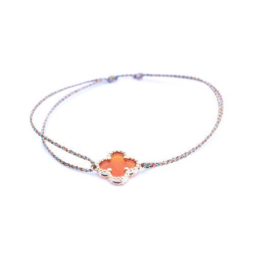 Bracelet cordon mini trèfle cornaline doré
