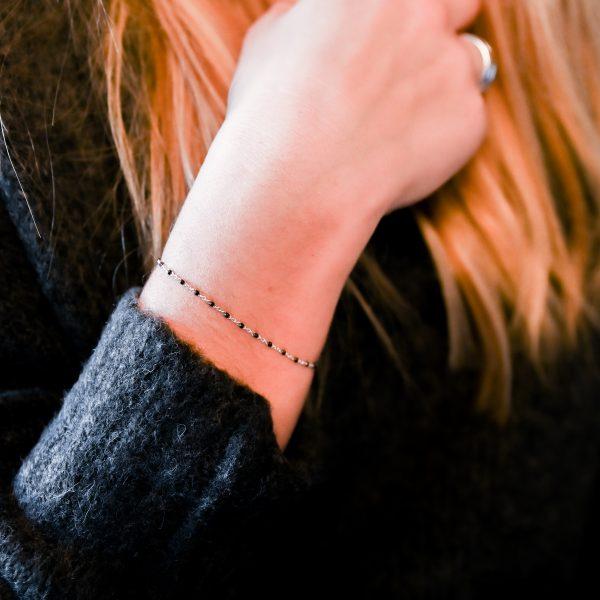 Bracelet olwen noir argent
