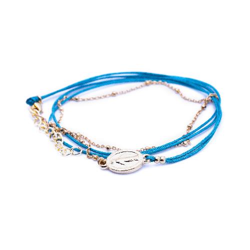 Bracelet madone bleu canard doré