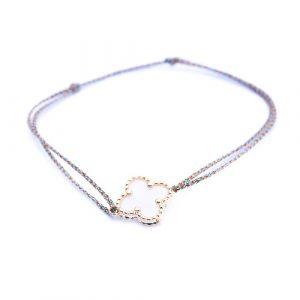 Bracelet cordon mini trèfle nacre
