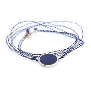 Bracelet multi tours jeton agate noire