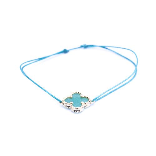 Bracelet cordon mini trèfle aventurine