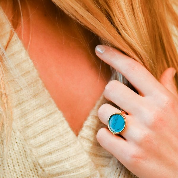 Bague jeton turquoise or