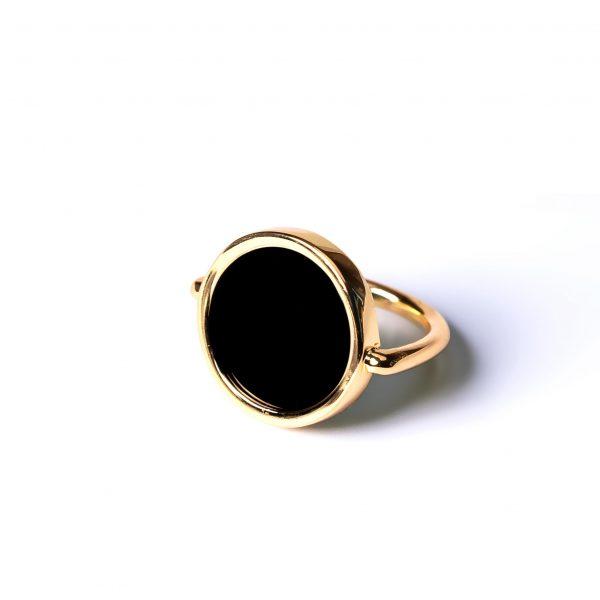 Bague jeton agate noire or