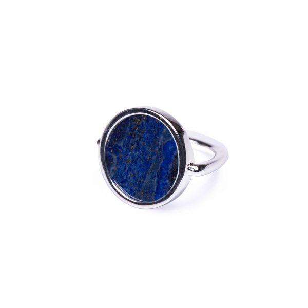 Bague jeton lapis lazuli argent