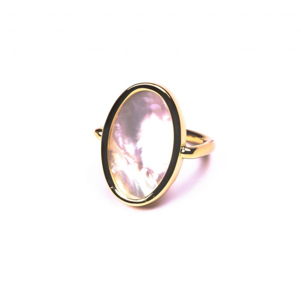 Bague ovale nacre or
