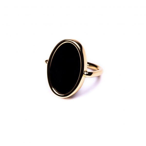 Bague ovale agate noire or
