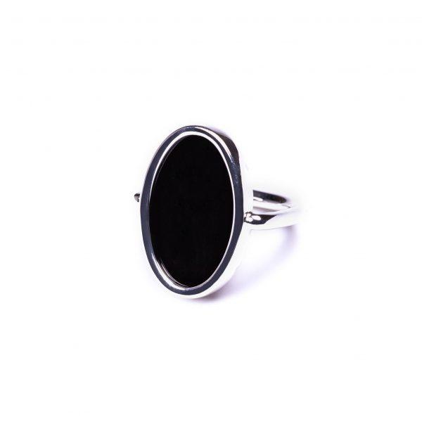 Bague ovale agate noire argent