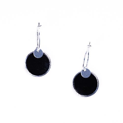 Boucles d'oreilles jeton agate noire