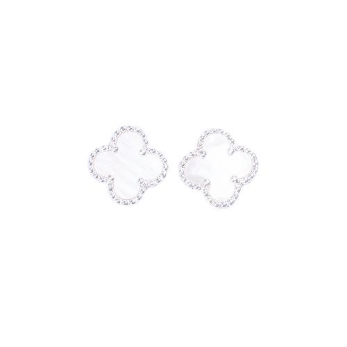 Puces d'oreilles mini trèfle nacre