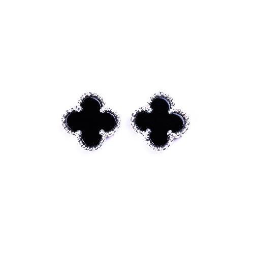 Puces d'oreilles mini trèfle agate noire